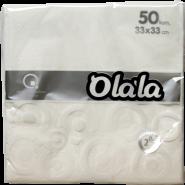 """Салфетки за маса """"O'La La Prestige"""" бели, 40 х 40 см"""