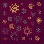 Коледни салфетки, бордо със снежинки, 33 х 33 см, 2 пл., 85 бр.